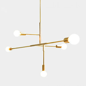 Image Is Loading 5 Gold Metal Lights Pendant Chandeliers Modern