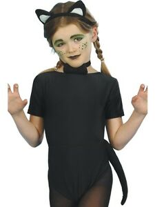 Girls Cat Fancy Dress Costume Kids Black Kitten Animal Kitty Outfit