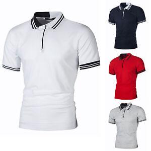 Men-Polo-Shirts-Short-Sleeve-Tee-Stylish-Slim-Fit-Casual-Blouse-Tops-T-Shirt
