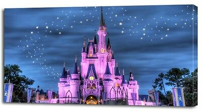 4 Sizes - DISNEY CASTLE PRINT ON CANVAS Home Wall Decor Art Movie Kids Giclee
