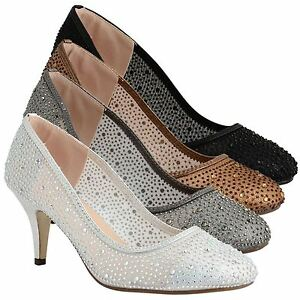 Womens Ladies Mid Stiletto Heel Diamante Wedding Sparkly Mesh Court Shoes Size