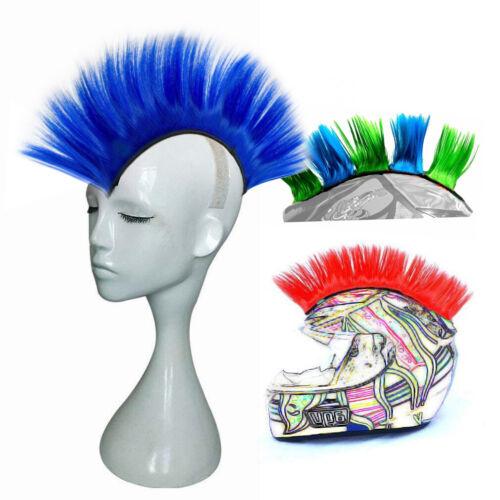 Helmet Mohawk Wig Motorcycle Adhesive Mohawk Hair Costumes Wig Deep Blue Hawk