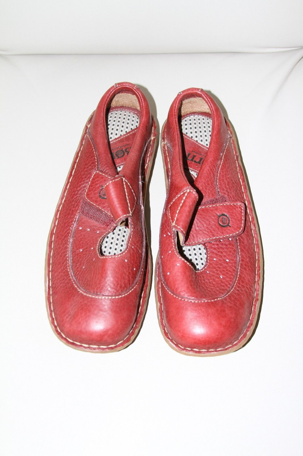 BORN Handcrafted RED Premium Leather Comfort Flats 7M  NEW