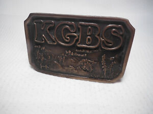 VINTAGE-KGBS-LIMITED-EDITION-BRASS-BELT-BUCKLE-INDIANA-METAL-CRAFT-1977