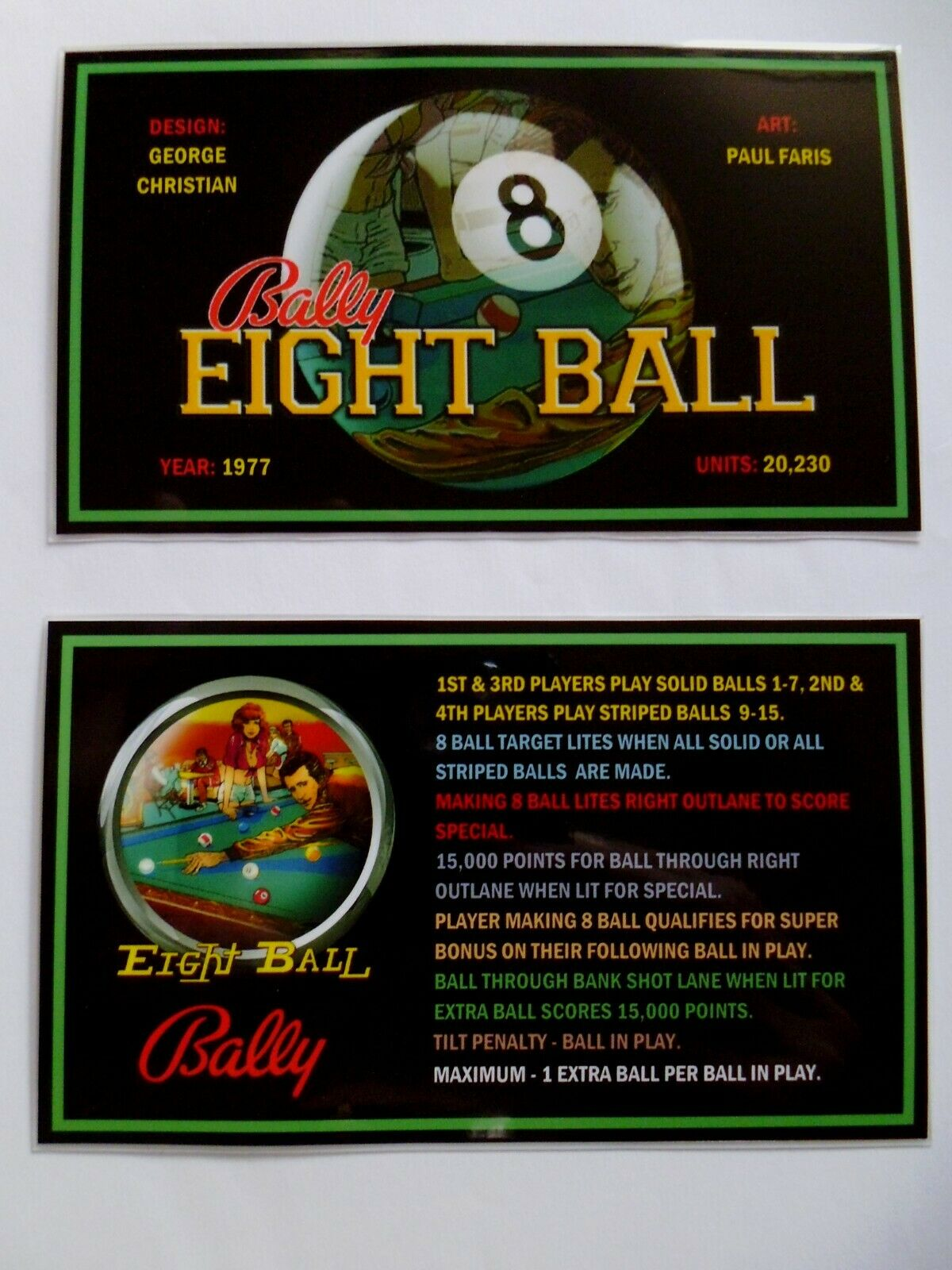 * 'EIGHT BALL' Bally 1977 Custom Instruction/Apron Cards * (New)