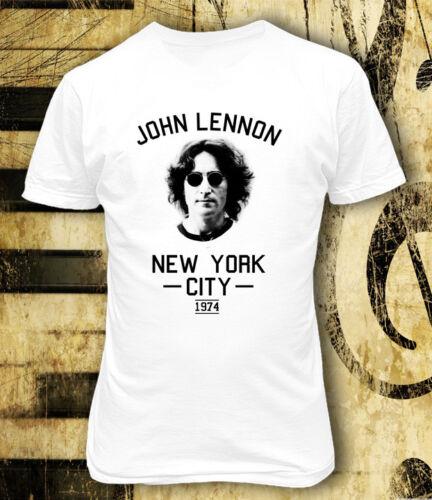 John Lennon New York City 1974 White Men Printed T-shirt