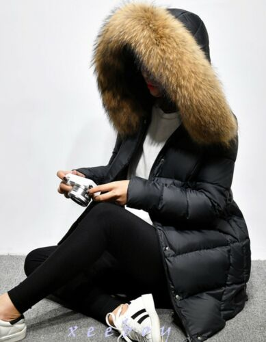 Fashion Women/'s Duck Down Real Fur Hooded Winter Warm Thicken Coat Jacket Parka