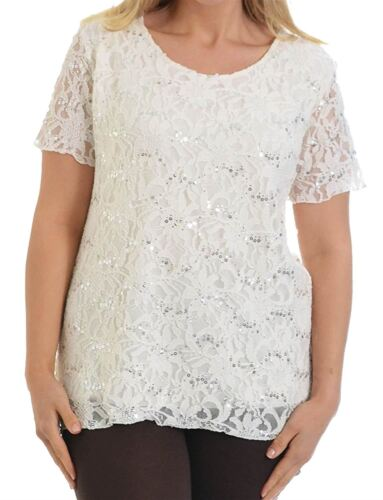 Ladies Plus Size Sequin Detail All Over Floral Lace Tunic T-Shirts Tops 12-26