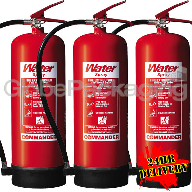 3 X 9 Litre Water Fire Extinguishers 9l Warehouse Office Workshop 24hrs