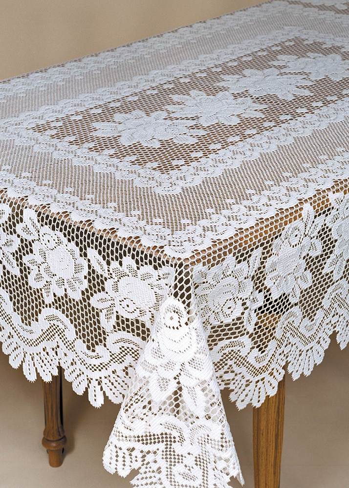 Heritage Lace Off blanc Rose 52  X 72  Rectangle Nappe
