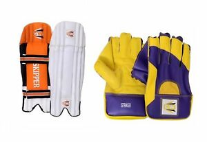 CRICKET-WICKET-KEEPING-KEEPER-LEG-PADS-GUARDS-SKIPPER-WITH-STRIKER-GLOVES-IN-PVC