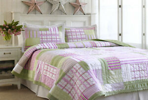 2-Pce-EDGEMONT-Patchwork-Single-COTTON-Quilt-Coverlet-Comforter-Pillowcase