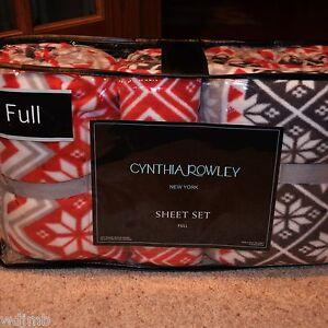 CYNTHIA-ROWLEY-Fleece-Warm-Winter-RED-GREY-NORDIC-SNOWFLAKE-Full-4pc-Sheet-Set