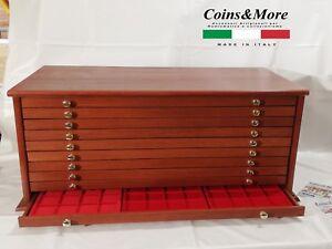 Grande-Monetiere-Medagliere-10-Cassetti-VUOTO-Coins-amp-More-coin-cabinet