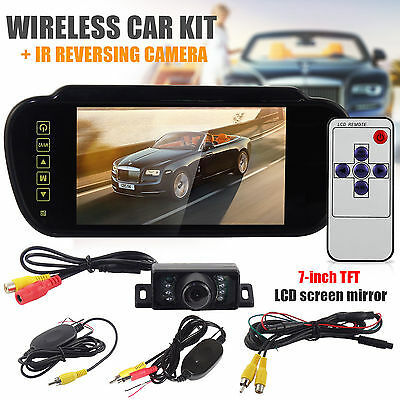 Wireless 8 LED Parking Reverse Camera + 7″ LCD Mirror Monitor Car Rear View Kit