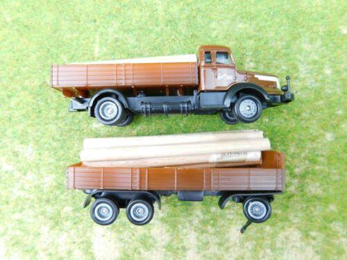 D09 Oldtimer LKW 1:87 H0 braun Langnese Honig mit Anhänger und Eigenladung