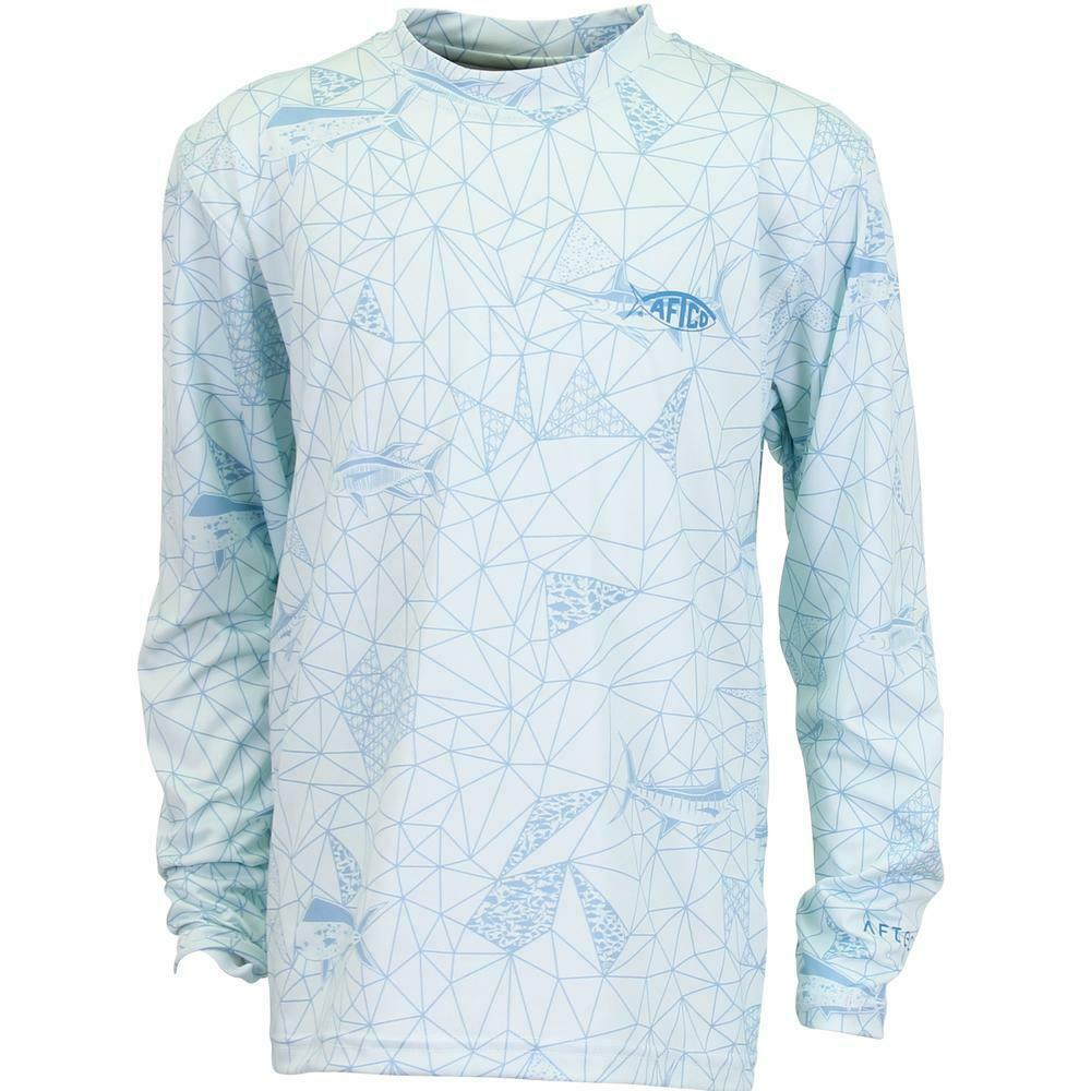 AFTCO Meisai Mens Long Sleeve Shirt, Vapor, FISHING