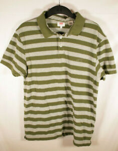 Levi-039-s-Strauss-amp-Co-Mens-POLO-Short-Sleeve-Cotton-Green-Stripes-Size-Large