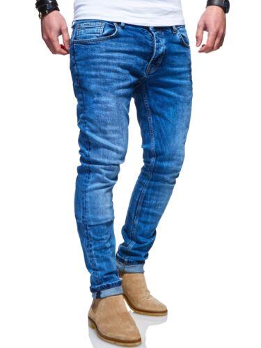 Ombre-eight Pantaloni Jeans Uomo Slim Fit Skinny Jeans Slavati Blu//Grigio//Nero NUOVO