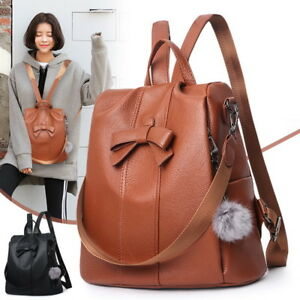 Womens-Soft-Faux-Leather-Shoulder-Backpack-Satchel-Travel-Bag-With-Fluffy-Ball