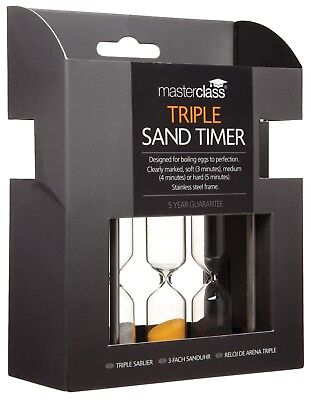 Sand Timer MasterClass Stainless Steel Triple Hard and Soft Boiled Egg Timer