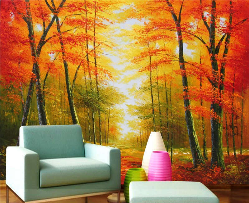 ROT Autumn Painting Full Wall Mural Photo Wallpaper Printing 3D Decor Kid Home