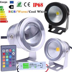 10W LED Underwater Spot Light RGB Cool Warm Garden Pond Lamp IP67