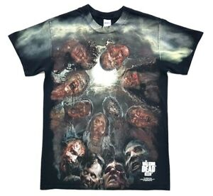 The-Walking-Dead-All-Over-Print-Zombie-Tee-Black-Size-Small-Adult-T-Shirt-AMC