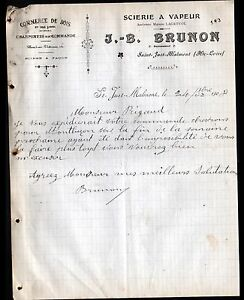 SAINT-JUST-MALMONT-43-SCIERIE-BOIS-034-LAGREVOL-J-B-BRUNON-Succ-034-en-1908