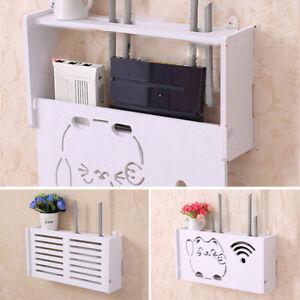 White-Wireless-Wifi-Router-Storage-Box-Wood-Shelf-Wall-Hanger-Bracket-Decoration
