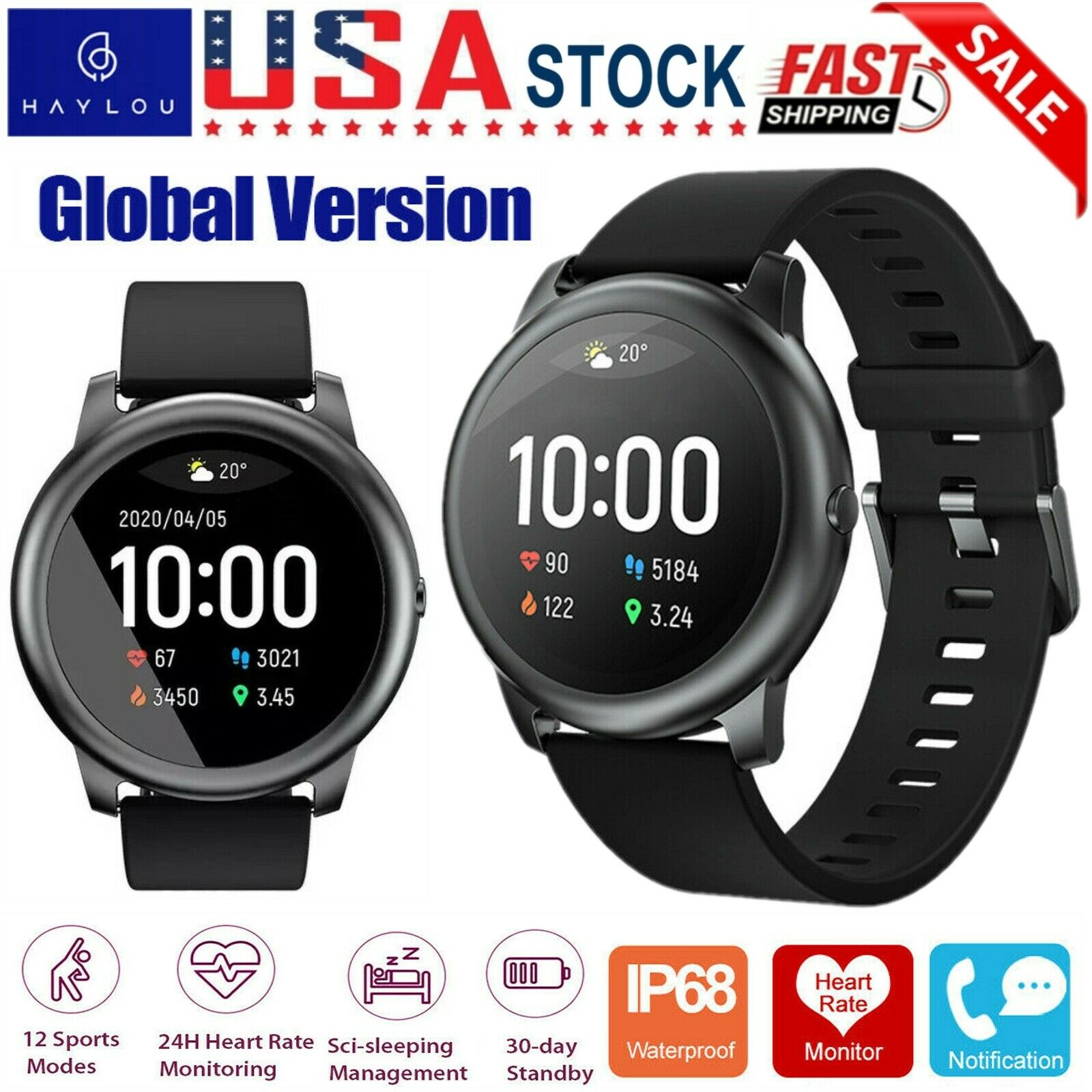 Haylou LS05 Solar Smart Watch Sport Fitness Heart Rate Monitor For iOS Android