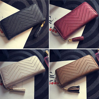 Women PU Leather Card Holder Case Long Wallet Clutch Checkbook Handbag Purse Bag