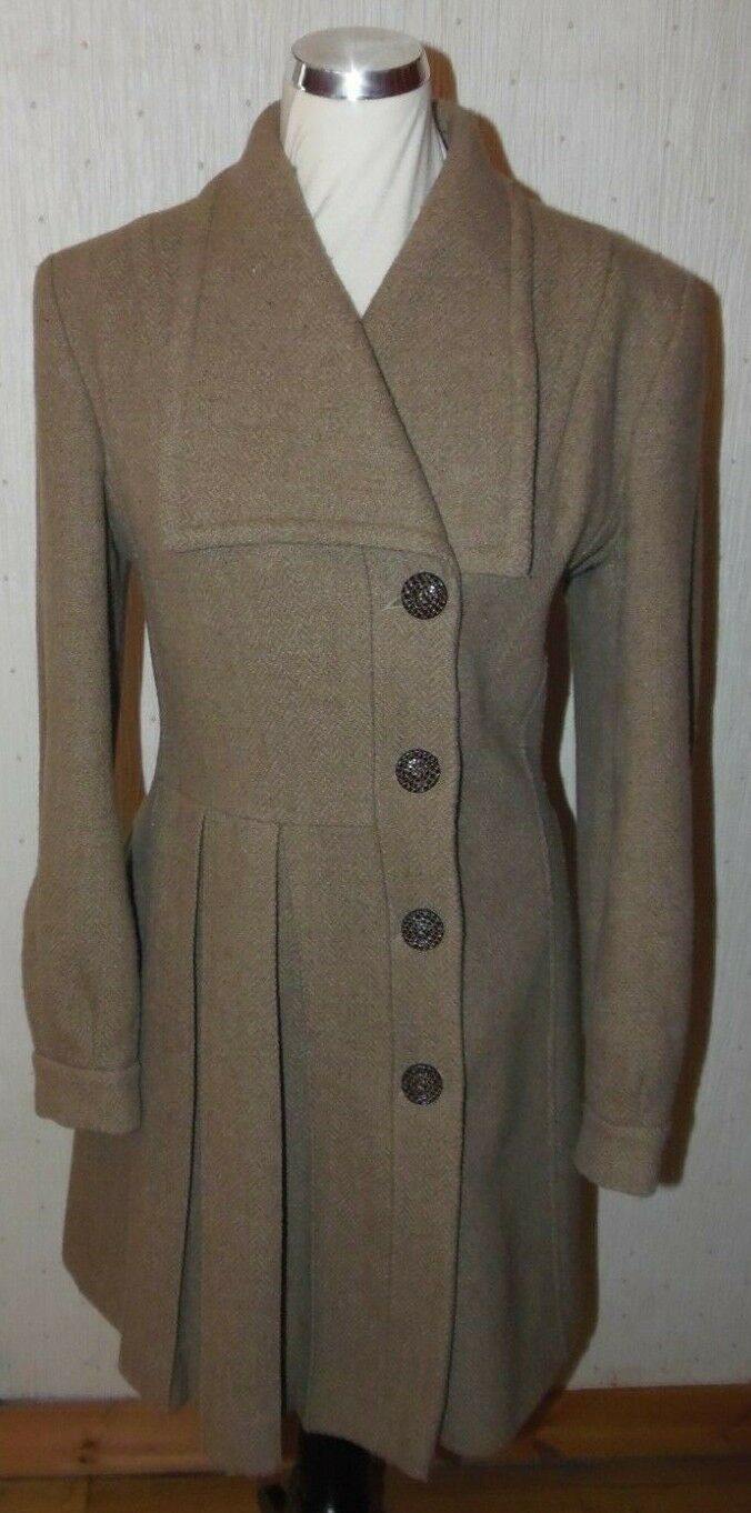 E.B by Evie Belle brown wool blend pleat front coat, Size 10 peacoat