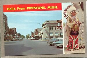 Postcard-MN-Pipestone-Hello-From-American-Indian-Street-View-c150s-Cars-2485N