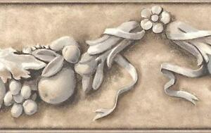 Wallpaper-Border-Classic-Fruit-Swag-Architectural-Looking-Taupe-Beige-Gray