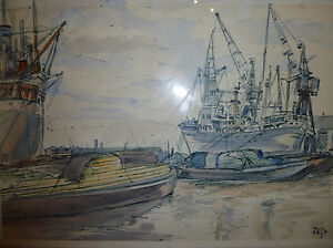 Dockyard-Pen-amp-Wash-Original-Picture-AT-THE-DOCKS-Winifred-Pickford-Art-Painting