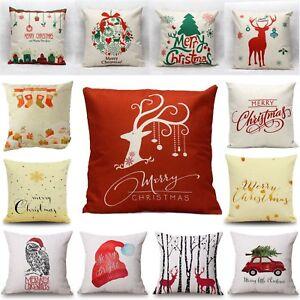 Christmas Pillow Covers Ebay: Christmas Xmas Linen Cushion Cover Throw Pillow Case Home Decor    ,