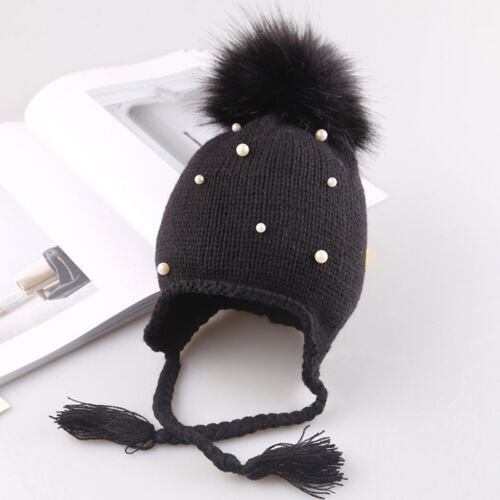 Children Kids Baby Warm Winter Wool Knit Beanie Real Fur Pom Bobble Hat Cap Gift