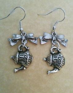 Alice-in-Wonderland-mini-Bow-tea-time-teapot-EARRINGS