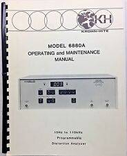 Krohn-Hite 6880A Distortion Analyzer Operating & Maintenance Manual P/N 011990
