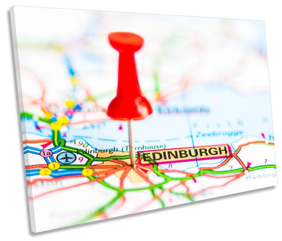 Edinburgh Scotland Map SINGLE CANVAS WALL ART Framed Print