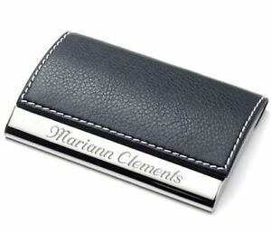 image is loading personalized black leather business card credit card holder - Phone Card Holder Custom