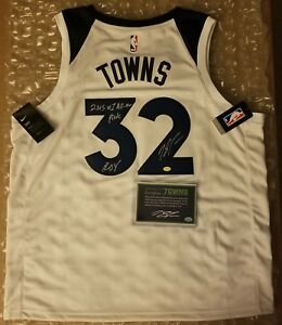 meet 8ca24 a199b Details about Karl-Anthony Towns Signed Nike Timberwolves Jersey Insc.  Towns Player COA