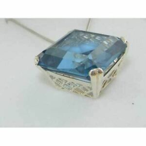 Solid-925-Sterling-Silver-Octagon-41ct-Synthetic-Aquamarine-Pendant-Necklace