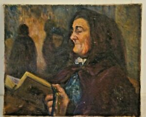 Painting-Canvas-Character-Large-Mother-Signed-M-Baudet