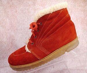 Vtg 70s Suede Leather Shearling Lined Festival Boho Retro