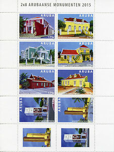 Aruba 2015 MNH Monuments 10v Block Set Buildings Arubaanse Monumenten