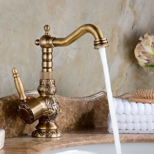 Single hole Antique Brass Bathroom Faucet Flower Carved Vessel Sink Mixer Tap
