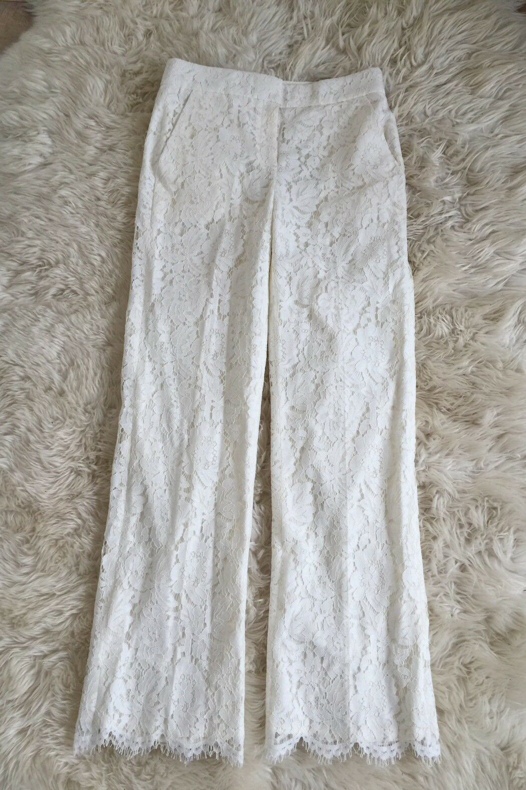 JCrew  350 Collection Floral Lace Pants Wedding Bride Formal Ivory 4 C7611 NEW