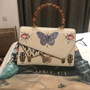 6866198cd901 Image is loading Gucci-Ottilia-large-embellished-elaphe-paneled-printed- leather-
